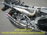 LOMAS HONDA NS400  Stainless Steel Exhaust with Carbon Fiber Mufflers